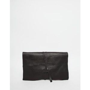ASOS - Pochette en cuir avec lien à nouer - Noir