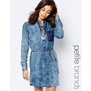 Noisy May Petite - Robe chemise délavée à l'acide à manches longues - Bleu