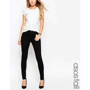 ASOS TALL - Ridley - Längere Jeans in Schwarz mit hohem Bund - Schwarz