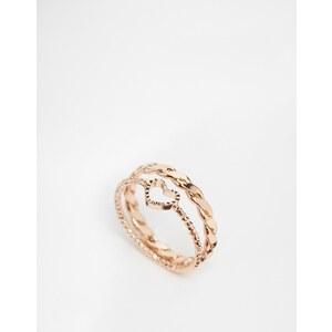 ASOS Ring für den kleinen Finger mit doppeltem Ringband und Herz - Kupfer