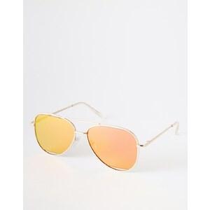 ASOS - Flache Pilotenbrille mit rosafarbenen Gläsern - Gold