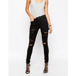 ASOS - Ridley - Schwarze Skinny-Jeans im Used-Look mit Rissen - Schwarz
