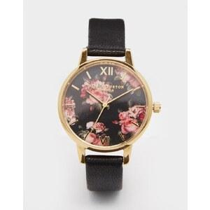 Olivia Burton - Winter Garden - Uhr mit schwarzem Lederarmband - Schwarz