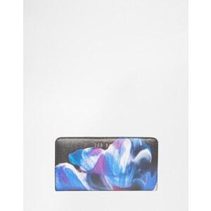 Ted Baker - Porte-monnaie motif floraison cosmique en cuir avec fermeture éclair - Noir