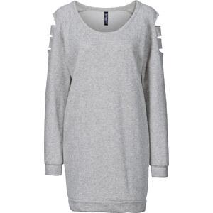 RAINBOW Sweat-shirt découpé aux épaules gris femme - bonprix