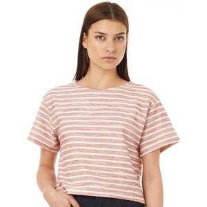 Native Youth Damen Reverse Loopback Cream T-Shirt Rot