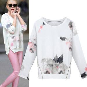 Lesara Sweatshirt mit Reißverschlüssen - Weiß - S