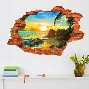 Lesara 3D-Vinyl-Wandsticker Strand & Sonnenuntergang