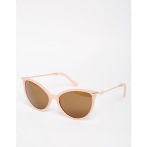 ASOS - Katzenaugen-Sonnenbrille mit Metallketten-Bügeln und dunklen Gläsern - Rosa