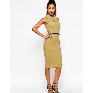 Michelle Keegan Loves Lipsy - Figurbetontes Kleid mit Rollkragen und Gürtel - Kamel