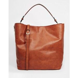Pull&Bear - Shopper-Tasche in Leder-Optik mit seitlichem Reißverschluss - Braun
