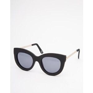 ASOS - Breite Katzenaugen-Sonnenbrille aus Gummi mit Metallbügeln - Schwarz
