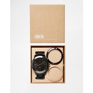 ASOS - Uhr mit wechselbaren Lünetten, schwarz - Schwarz