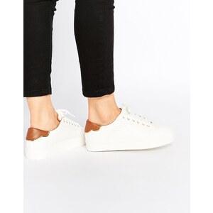 Pull&Bear - Weiße Sneakers mit Ziernähten - Weiß