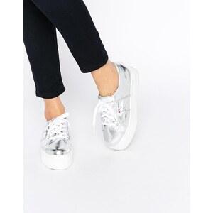 Superga - 2790 Silberne Sneakers mit flacher Sohle