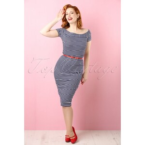 Bettie Page Clothing 50s Shop Till You Drop Stripes Dress in Navy and White