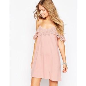 ASOS - Robe d'été bordée de dentelle à épaules dénudées - Rose