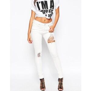 ASOS - Lisbon - Skinny Jeans mit mittelhohem Bund in Valencia-Altweiß mit zerrissenen Rissen - Valencia/Gebrochenes Weiß