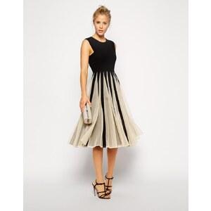 ASOS - Kleid aus Netzstoff mit ausgestelltem Rock in Midi-Länge - Schwarz