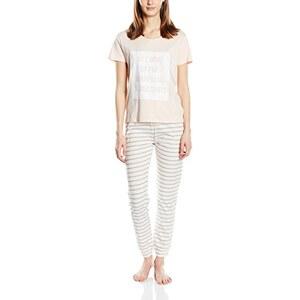 New Look Damen Zweiteiliger Schlafanzug Wake for Champagne Stripe