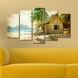 Lesara 5-teiliges Wandbild Strandhaus