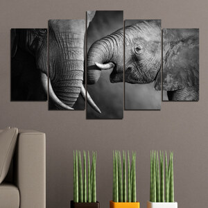 Lesara 5 panneaux muraux motif éléphants