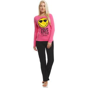 Smiley Pyjama schwarz in Größe S für Damen aus 100% Baumwolle