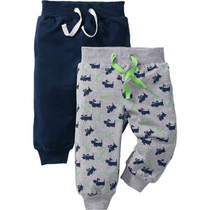 bpc bonprix collection Lot de 2 pantalons sweat bébé en coton bio, T. 56/62-104/110 gris enfant - bonprix