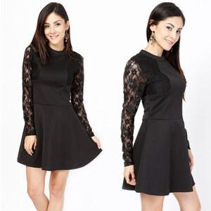 Lesara Kurzes Kleid mit Spitzenärmel - M