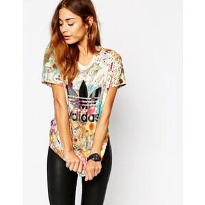adidas Originals - Farm - Geblümtes Oversize-T-Shirt mit Dreiblattlogo - Mehrfarbig