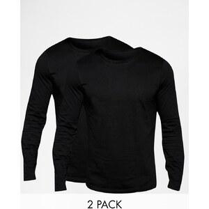 ASOS - Lot de 2 t-shirts ras du cou à manches longues - Noir - Noir