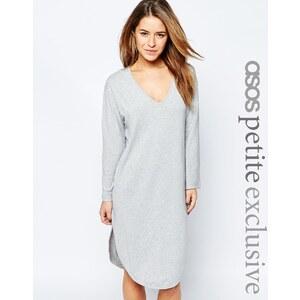 ASOS PETITE - T-Shirt-Kleid mit Bogensaum und V-Ausschnitt - Kalkgrau