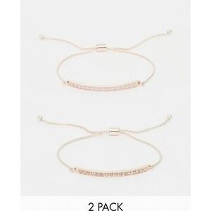 Oasis - Deux bracelets noués avec barre pavée - Doré