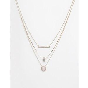 Oasis - Colliers multi-rangs avec quartz rose et barre pavée - Doré