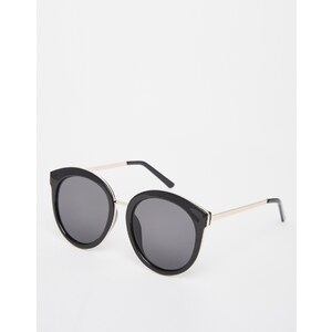 ASOS - Lunettes de soleil rondes oversize style preppy avec insert en métal - Noir