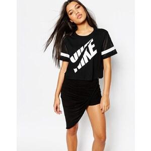 Nike Boxy T-Shirt With Swoosh Text Logo & Mesh
