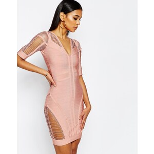 WOW Couture - Figurbetontes Bandagenkleid mit Laufmaschendesign - Rosa