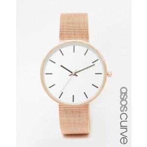 ASOS CURVE - Montre à bracelet minimaliste en maille avec gros cadran - Or rose