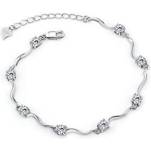 Lesara Geschwungenes Armband mit Zirkonia versilbert - Weiß