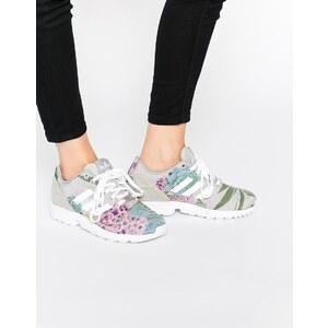 adidas Originals - ZX Flux - Sneakers mit Blumenprint - Einfarbig Grau