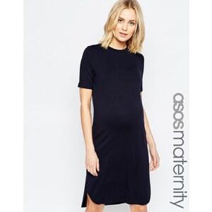 ASOS Maternity - Kleid mit abgerundetem Saum und halbem Arm - Blau