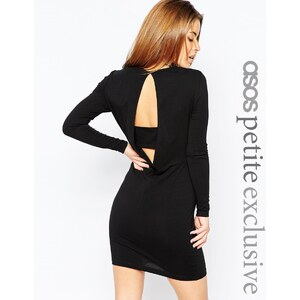 ASOS PETITE - Langärmliges, figurbetontes Kleid mit drapierter Rückseite und Trägerdetail - Nude 10,49 €