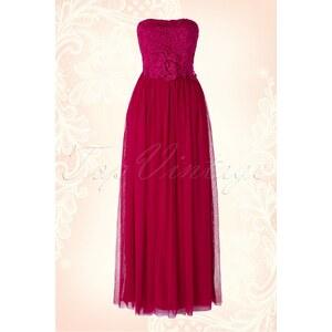 Little Mistress 50s Rosa Lace Bandeau Maxi Dress in Raspberry Pink