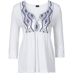 BODYFLIRT T-shirt avec application blanc manches 3/4 femme - bonprix
