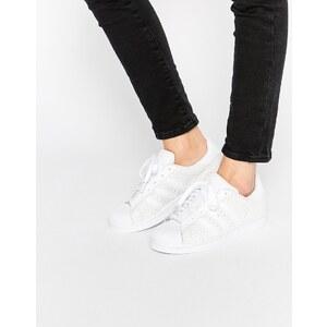 adidas Originals - Superstar - Weiße Ledersneakers mit Schlangenhauteffekt - Weiß