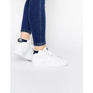 adidas Originals - Stan Smith - Mittelhoch geschnittene Sneakers in Weiß & Schwarz - Weiß