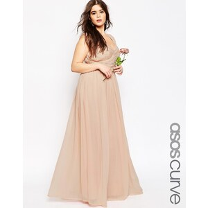 ASOS CURVE WEDDING - Maxikleid mit gerüschter Partie - Rosa