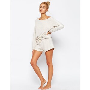 ASOS LOUNGE - Melierte Jersey-Shorts in Hafer - Beige