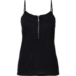 BODYFLIRT Top zippé noir femme - bonprix