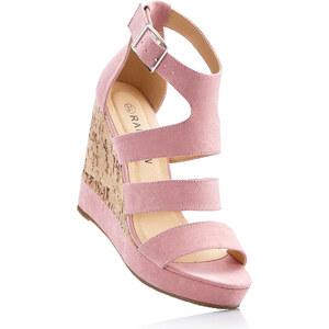 RAINBOW Sandales rose avec 12 cm talon compenséfemme - bonprix